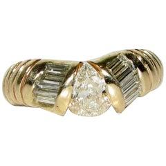 1.20 Carat Pear Shape Diamond Band Ring 14 Karat Durable