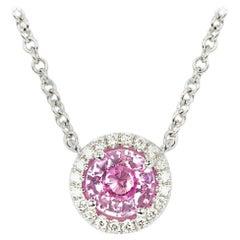 1.20 Carat Pink Sapphire and Diamond Halo Pendant Necklace