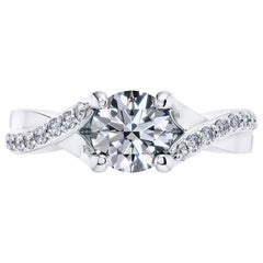 1.20 Carat Platinum Engagement Round Diamond Solitaire Twist Bespoke 4 Claw Ring