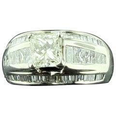1.20 Carat Princess Cut Center Diamond with 46 Additional Diamonds in Platinum