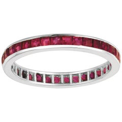 1.20 Carat Princess Cut Natural Ruby Ring Band 14 Karat White Gold