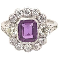 1.20 Carat Purple Sapphire and Diamond 18 Karat White Gold Ring