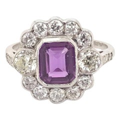 1.20 Carat Purple Sapphire and Diamond 18 Karat White Gold Ring