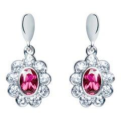 1.20 Carat Rhodolite Garnet Oval Diamond Flower Drop Earrings Natalie Barney
