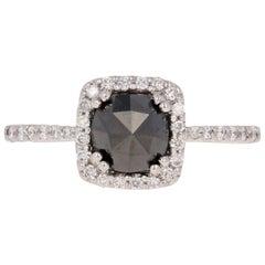 1.20 Carat Rose Cut Black Diamond Halo Engagement Ring, 14 Karat White Gold