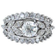 1.20 Carat Round and Marquise Diamond Gold Ring