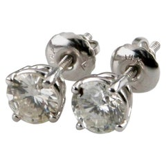 1.20 Carat Round Brilliant Diamond Stud Earrings G-I/ SI2 14 Karat White Gold