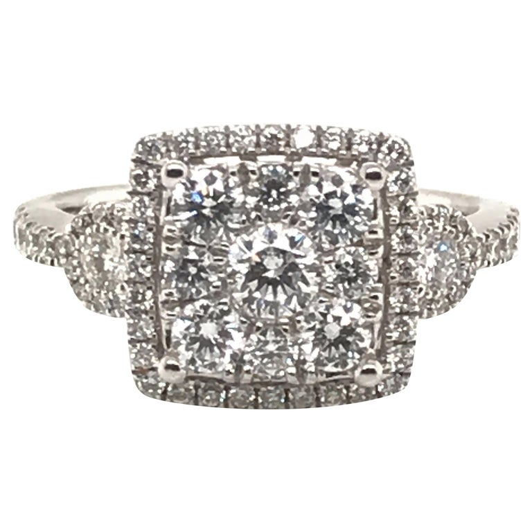 1.20 Carat Round Cluster Diamond Ring For Sale