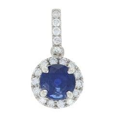 1.20 Carat Round Cut Sapphire and Diamond Pendant, 14 Karat White Gold Halo