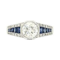 1.20 Carat Round Diamond and Sapphire Ring