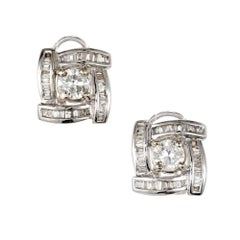1.20 Carat Round Diamond Baguette Swirl Halo Earrings