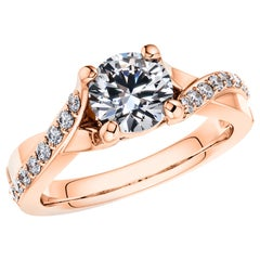 1.20 Carat Round Diamond Twisted 18 Karat Rose Gold 4 Prong Engagement Love Ring