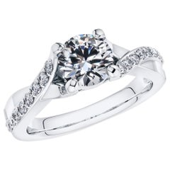 1.20 Carat Round Diamond Twisted 18 Karat White Gold 4 Prong Engagement RIng