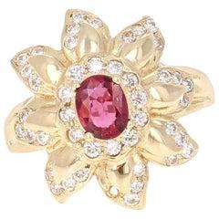 1.20 Carat Ruby Diamond 14 Karat Yellow Gold Cocktail Ring