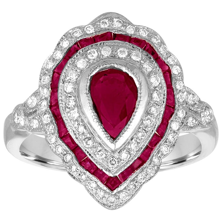 1.20 Carat Ruby Diamond Gold Ring For Sale