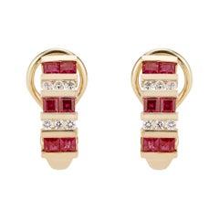 1.20 Carat Ruby Diamond Yellow Gold Hoop Earrings