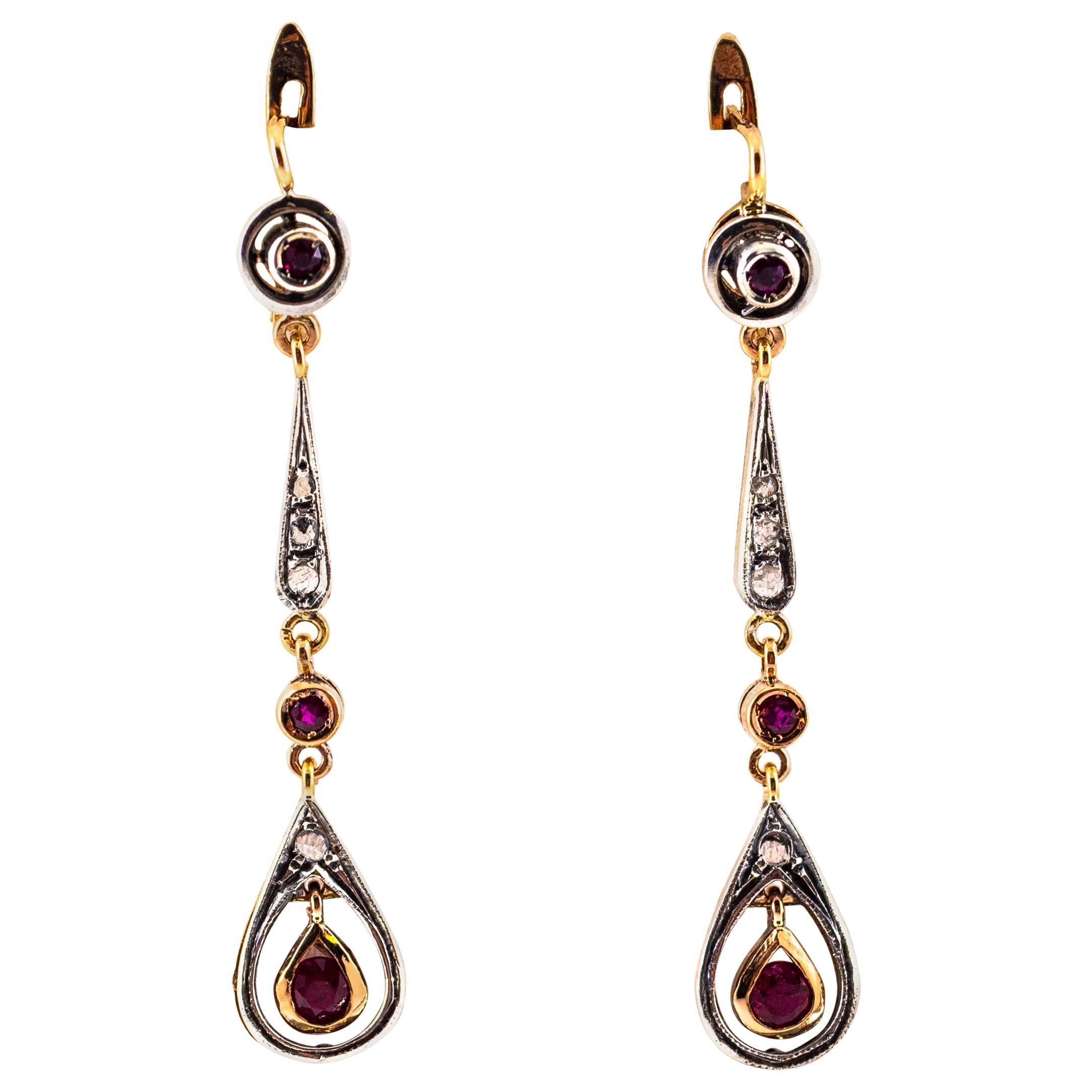 1.20 Carat Ruby White Rose Cut Diamond Yellow Gold Lever-Back Drop Earrings