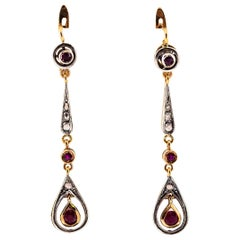 1.20 Carat Ruby White Rose Cut Diamond Yellow Gold Lever-Back Drop Earrings