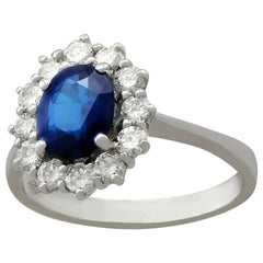 1.20 Carat Sapphire Diamond White Gold Cluster Ring, Vintage