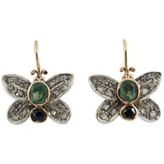 "1.20 Carat Sapphire Emerald Diamond Yellow Gold ""Butterfly"" Earrings"