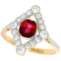 1.20 Carat Siam Ruby and 1.09 Carat Diamond Yellow Gold Ring Antique, 1920s