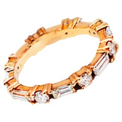 1.20 Carat Stackable Baguette and Round Diamond Rose Gold Band 14 Karat