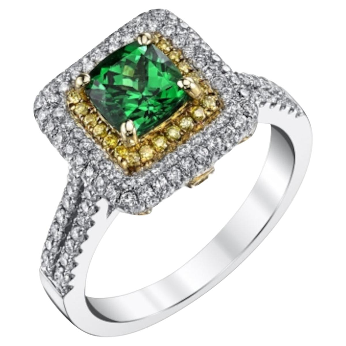1.20 Carat Tsavorite Garnet, Yellow Diamond Halo, White, Yellow Cocktail Ring