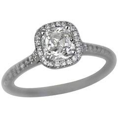 1.20 Carat TW Old Mine Cut Diamond Halo Ring Set in 14 Karat W -Ben Dannie