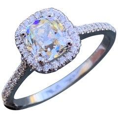 1.20 Carat TW Old Mine Cut Diamond Halo Ring Set in 14 Karat W, Ben Dannie