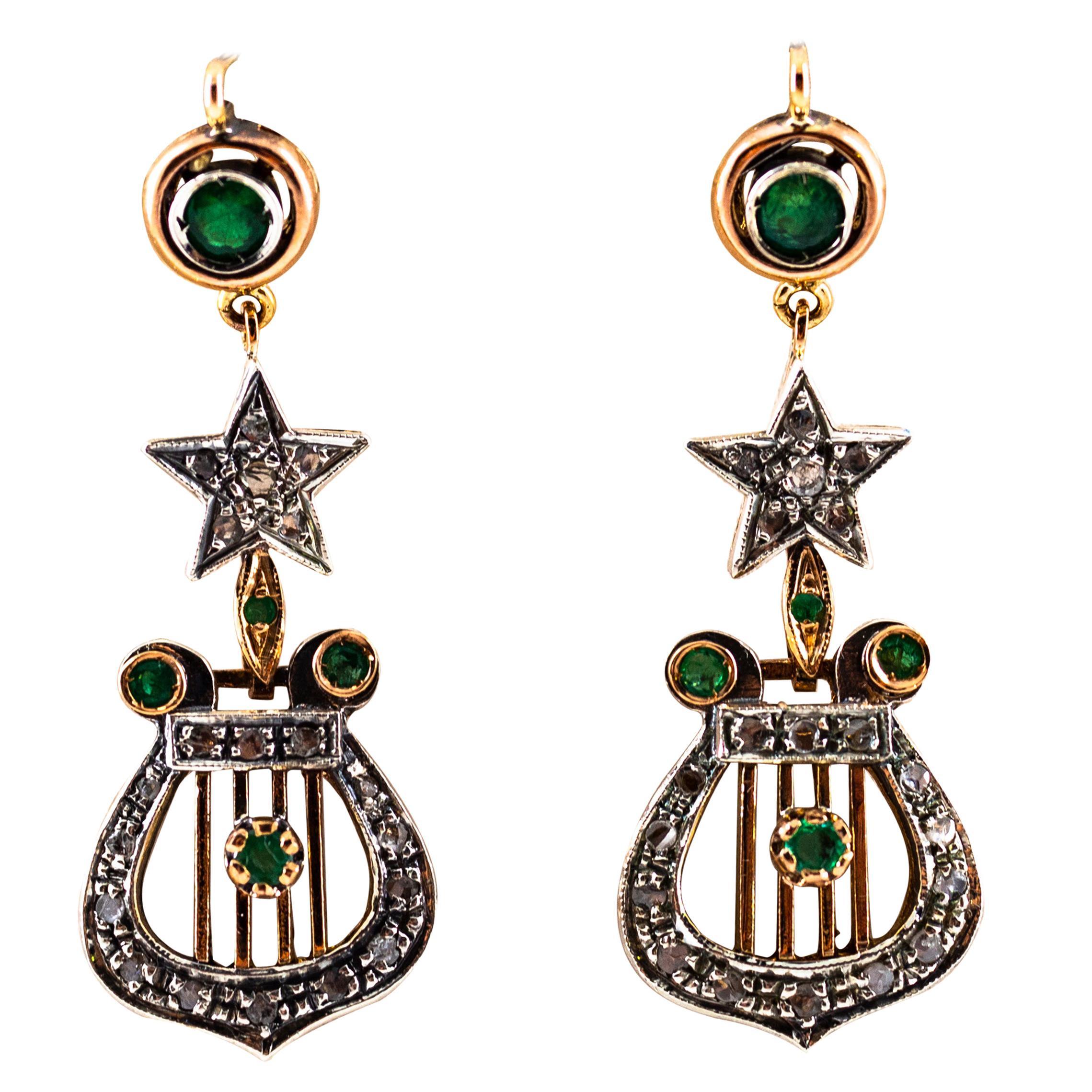 1.20 Carat White Rose Cut Diamond Emerald Yellow Gold Lever-Back Drop Earrings