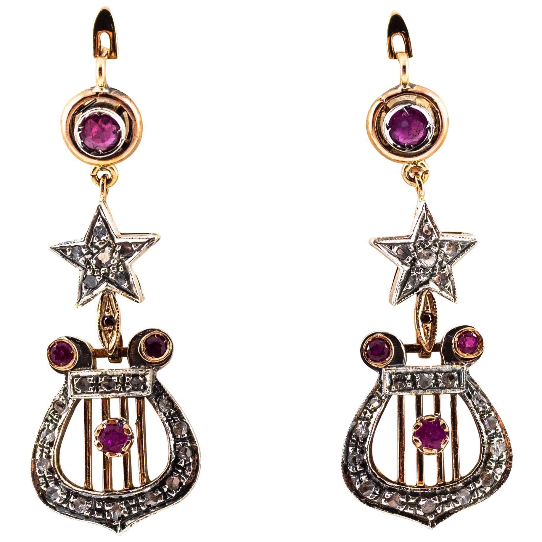 1.20 Carat White Rose Cut Diamond Ruby Yellow Gold Lever-Back Drop Earrings
