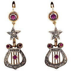 1.20 Carat White Rose Cut Diamond Ruby Yellow Gold Lever-Back Drop Earrings