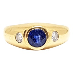 1.20 Carat Yellow Gold Sapphire Diamond Ring