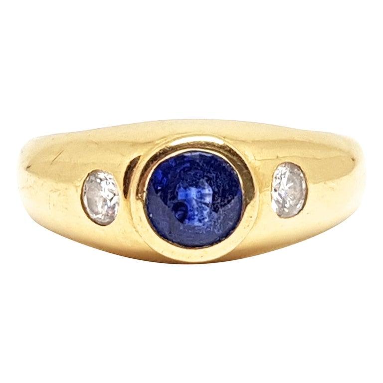 1.20 Carat Yellow Gold Sapphire Diamond Ring For Sale