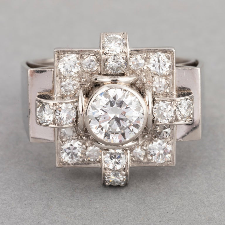 Round Cut 1.20 Carat French Art Deco Ring For Sale