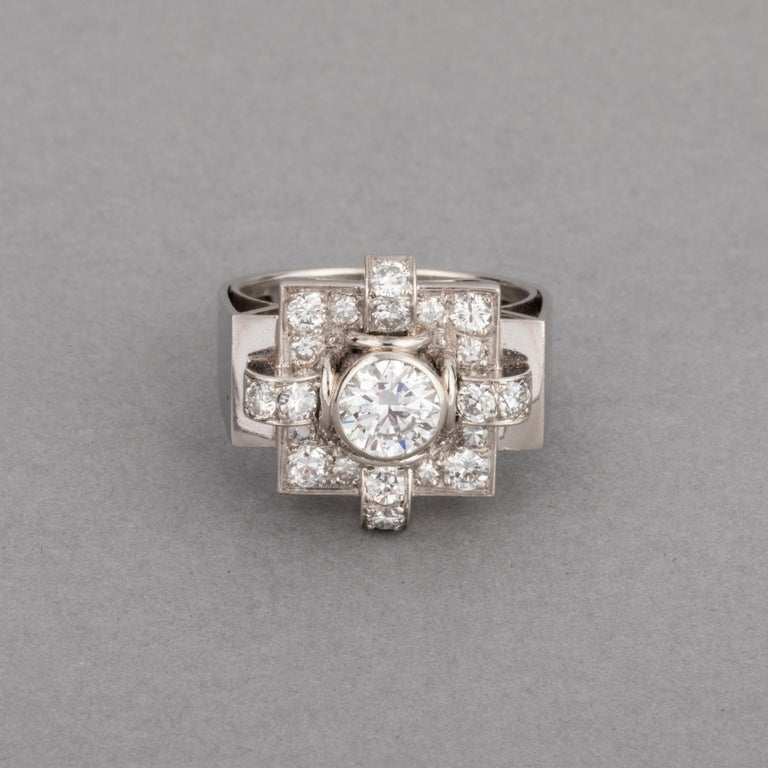 1.20 Carat French Art Deco Ring In Good Condition For Sale In Saint-Ouen, FR