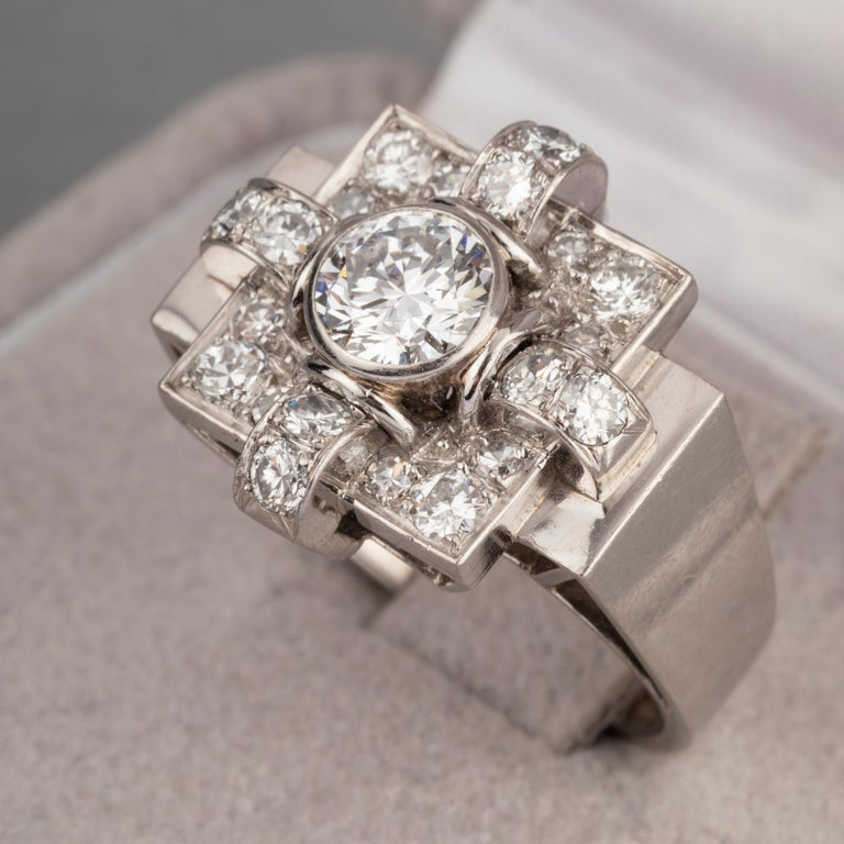 Women's 1.20 Carat French Art Deco Ring For Sale