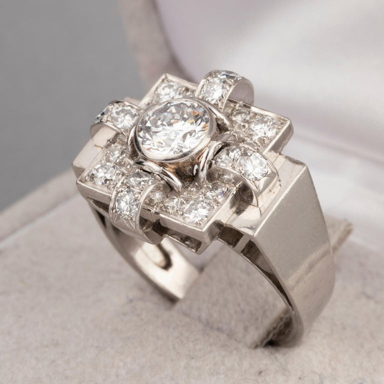 1.20 Carat French Art Deco Ring For Sale 1