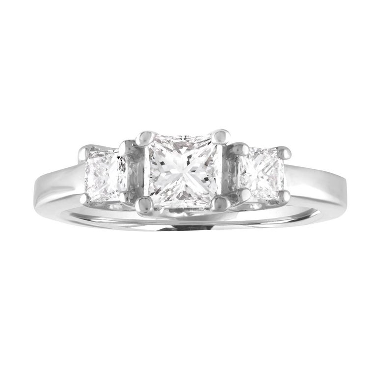 1.20 Carat Princess Cut Diamond Three Stone Gold Ring