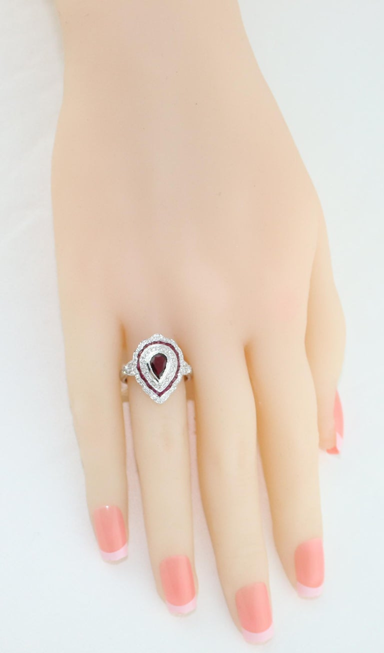 1.20 Carat Ruby Diamond Gold Ring In New Condition For Sale In New York, NY