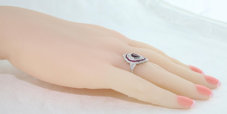 Women's 1.20 Carat Ruby Diamond Gold Ring For Sale