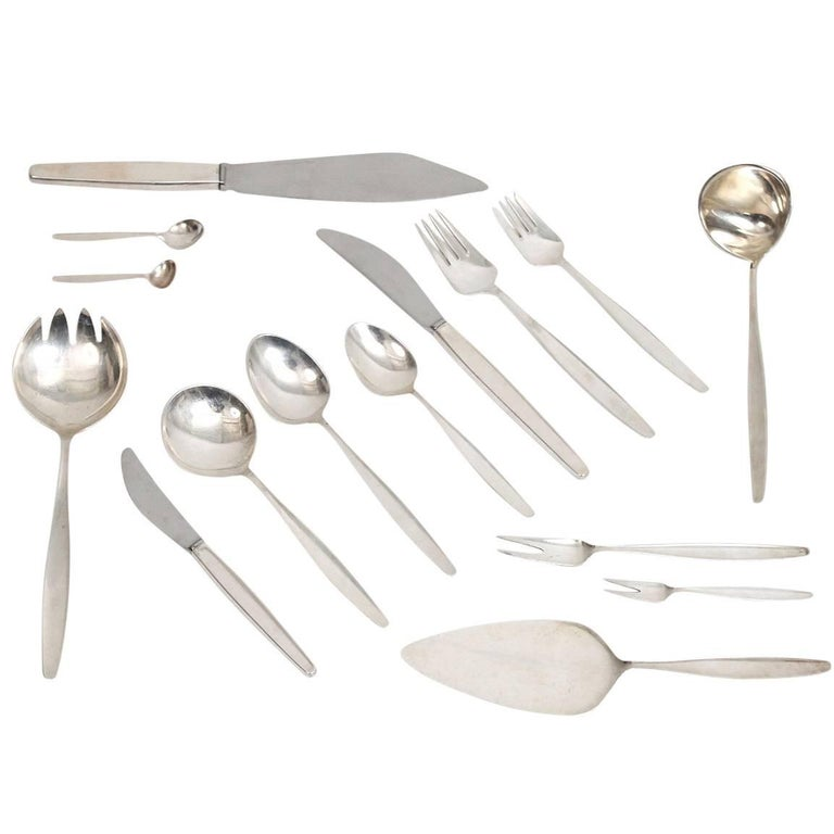 120 Piece Georg Jensen Cypress Sterling Silver Flatware Set For Sale