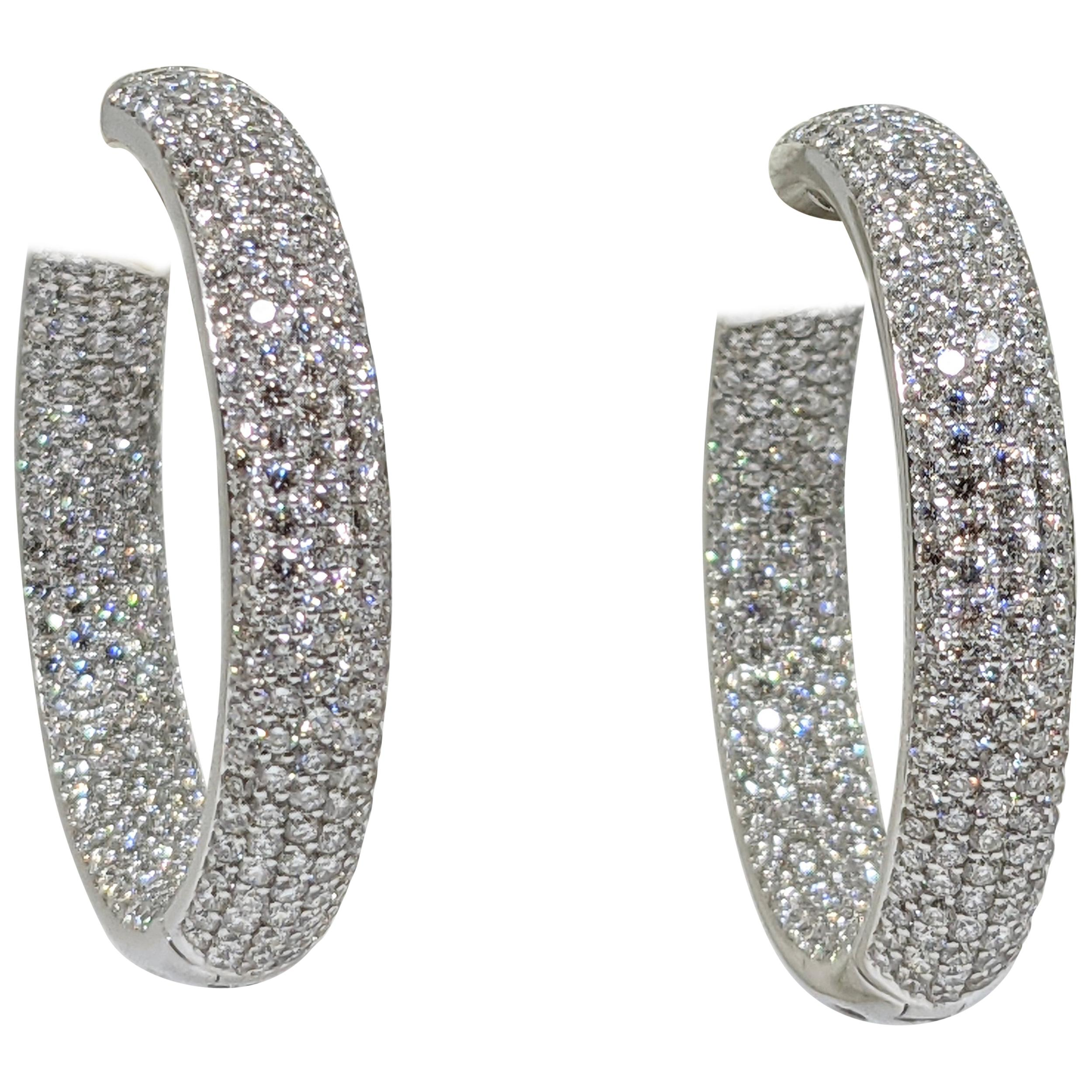 12.00 Carat 18 Karat White Gold Diamond Hoop Earrings