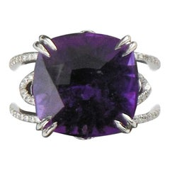 12.00 Carat Amethyst Platinum Cocktail Ring with Diamond Accents Ring