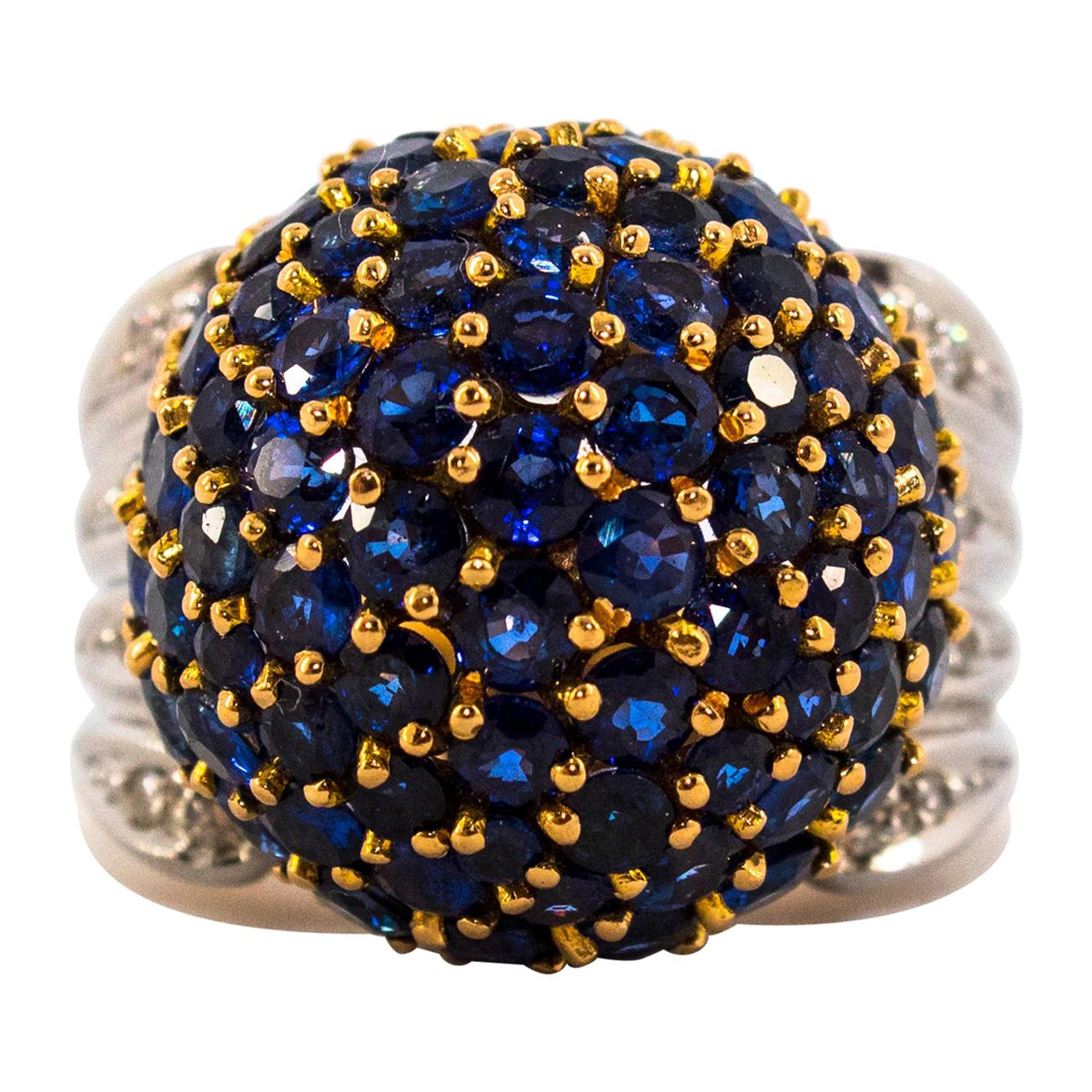 12.00 Carat Blue Sapphire 0.50 Carat White Diamond Yellow Gold Cocktail Ring