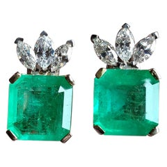 12.20 Carat Certified Square Colombian Emerald and Diamond Earrings