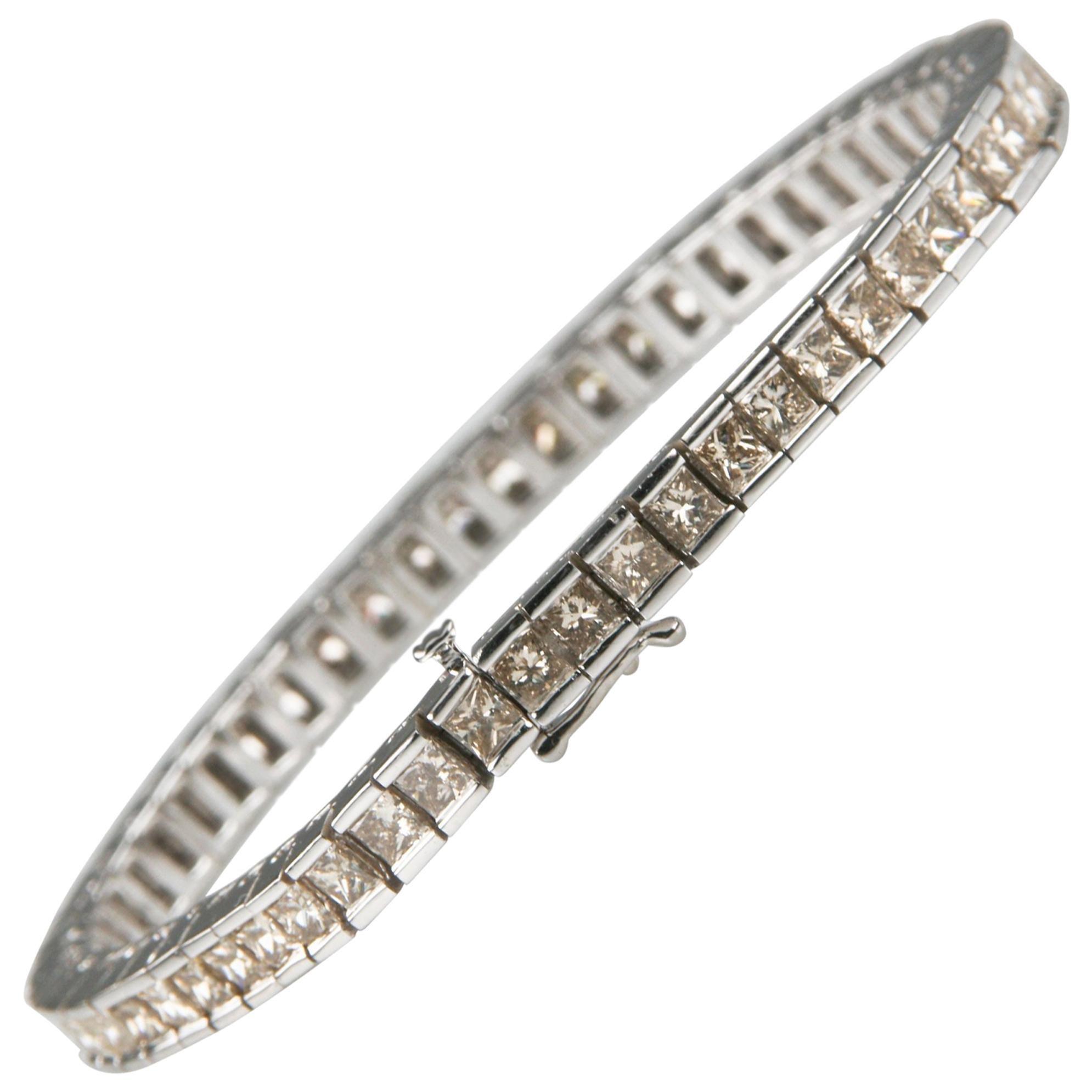 12.00 Carat Light Cognac Diamond 14 Karat White Gold Tennis Bracelet