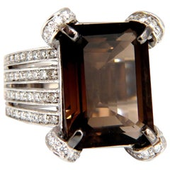12.00 Carat Natural Prime Smokey Topaz Diamonds Ring 14 Karat