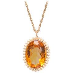 12.00 Carat Orange Citrine Pearl Yellow Gold Pendant Necklace