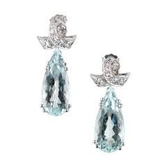 12.00 Carat Pear Shape Aqua Diamond Dangle Platinum Earrings